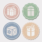 Gift box icon set different vintage styles. Vector Royalty Free Stock Images