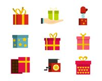 Gift box icon set, flat style. Gift box icon set. Flat set of gift box vector icons for web design isolated on white background Stock Images