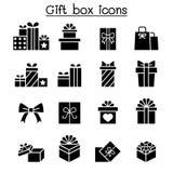 Gift box icon set in flat style stock illustration