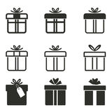 Gift Box icon set. Gift Box vector icons set. Black illustration isolated on white background for graphic and web design Vector Illustration
