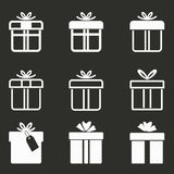 Gift Box icon set. Gift Box vector icons set. White illustration isolated on black background for graphic and web design Royalty Free Stock Photos