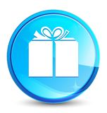 Gift box icon splash natural blue round button. Gift box icon isolated on splash natural blue round button abstract illustration royalty free illustration