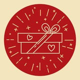 Gift box icon in thin line style Royalty Free Stock Photo
