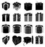 Gift box icons. In black stock illustration