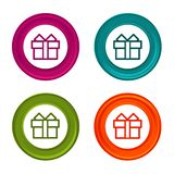Gift box icons. Present signs. Colorful web button with icon. Eps10 royalty free illustration