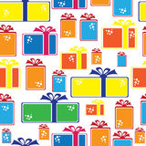 Gift box icons of seamless pattern Royalty Free Stock Photo