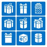 Gift box icons set on blue background Royalty Free Stock Image