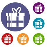 Gift in a box icons set. In flat circle reb, blue and green color for web Stock Photos