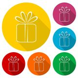 Gift box icons set with long shadow. Icon Royalty Free Stock Photography
