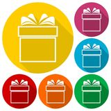 Gift box icons set with long shadow Royalty Free Stock Images