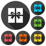 Gift Box Icons set with long shadow. Vector icon Stock Photos