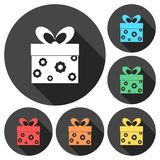 Gift Box icons set with long shadow. Vector icon Royalty Free Stock Photography