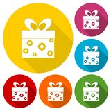 Gift Box icons set with long shadow. Vector icon Royalty Free Stock Image