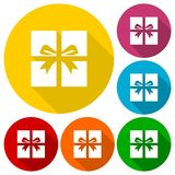 Gift Box Icons set with long shadow. Vector icon Stock Photography