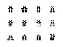 Gift box icons on white background. Vector illustration Stock Photography