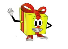 Gift box illustration. Illustration of a smiling yellow gift box with red ribbon and shoes Royalty Free Stock Image