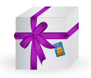 Gift box illustration with tag Royalty Free Stock Photography