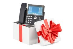 Gift box with ip phone, 3D rendering. Isolated on white background Royalty Free Stock Image