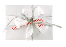 Gift box isolated. Beautifully packed gift box isolated on white Stock Photos