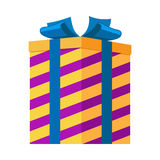 Gift Box Isolated. Striped Present for Festival. Gift box isolated vector illustration. Striped present for festival in yellow and purple colors with big blue Royalty Free Stock Images