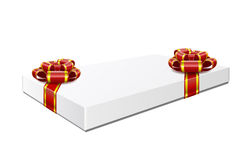 Gift box is isolated on white background. Gift box with red bows are isolated on white background Royalty Free Stock Image