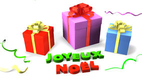 Gift box with Joyeux Noel Stock Images