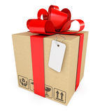 Gift box with label Royalty Free Stock Photo