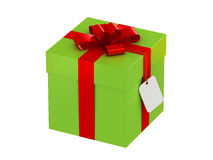 Gift box with a label Stock Photos