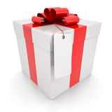 Gift box with a label. Isolated render on a white background Stock Image