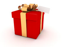 Gift box on with label on white background Royalty Free Stock Photography