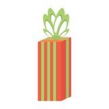 Gift box large stripes green bow festivity Stock Photo