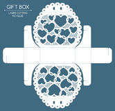 Gift box laser cut. Openwork gift box with a lace ornament. Laser cutting Royalty Free Stock Photo
