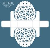 Gift box laser cut. Openwork gift box with a lace ornament. Laser cutting Stock Image