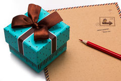 Gift box  and letter paper Stock Photo