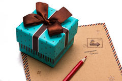 Gift box  and letter paper Stock Images