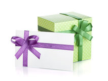 Gift box and letter with ribbon and bow Stock Images