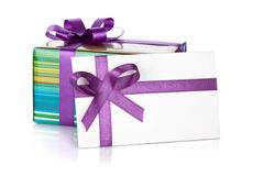 Gift box and letter with ribbon and bow Stock Photo