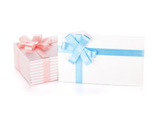 Gift box and letter with ribbon and bow Royalty Free Stock Photos