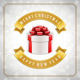 Gift box and light christmas vector background. Greeting card or invitation Stock Photography