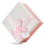 Gift box with light pink bow  on the white background Stock Photo
