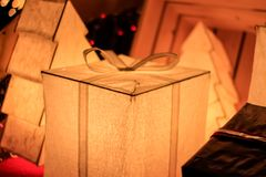 Gift Box Lightbox Christmas and New year decorations, soft focus.  Royalty Free Stock Photos