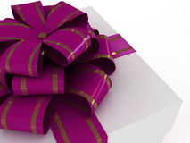 Gift box with lilac bow Royalty Free Stock Image