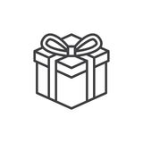 Gift box line icon, outline vector sign, linear style pictogram isolated on white Royalty Free Stock Images
