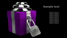 Gift box with the lock isolated Stock Image