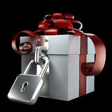 Gift box with the lock isolated Royalty Free Stock Image