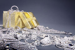 Gift box with lots of jewelery Royalty Free Stock Photo