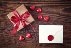 Gift box and love letter Stock Photos