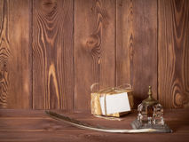 Gift box lying on the table Royalty Free Stock Photo