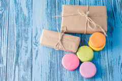 Gift box  and macaroons Royalty Free Stock Photo