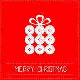 Gift box made from buttons. Appligue Dash line Merry Christmas card Red background Flat design Stock Photos